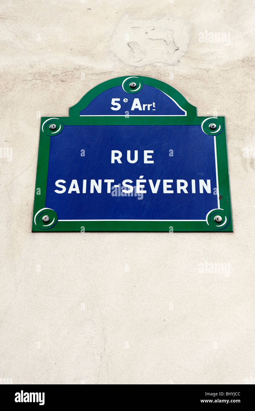 Street sign for Rue Saint-Severin, in the 5th Arrondissement, Paris - Stock Image