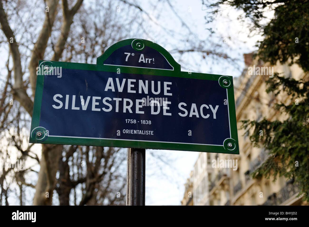 Street sign for Avenue Silvestre De Sacy, Orientaliste, in the 7th Arrondissement, paris Stock Photo