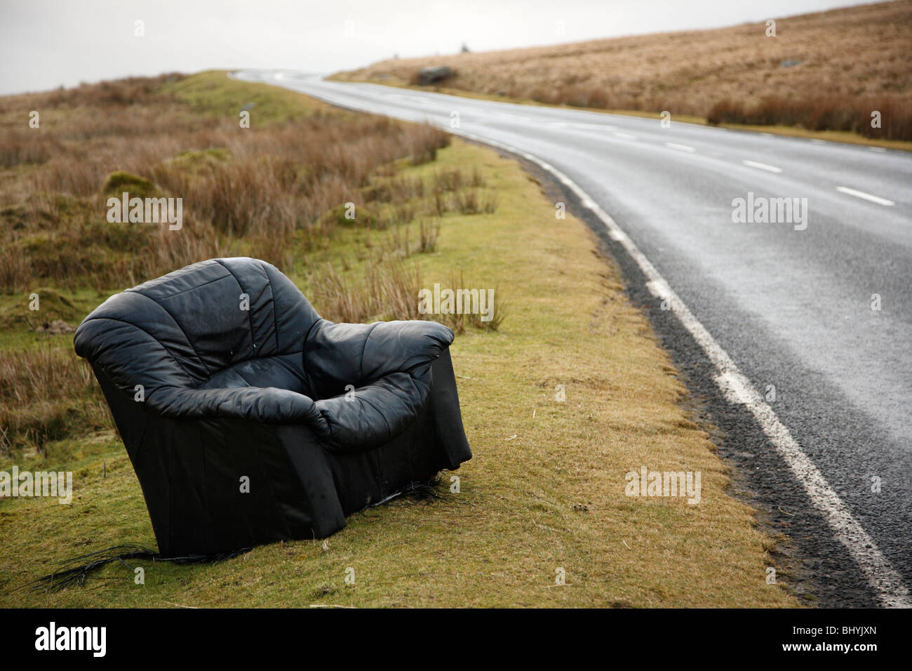 Abandonned Armchair, Brecon Beacons, Wales, UK - Stock Image