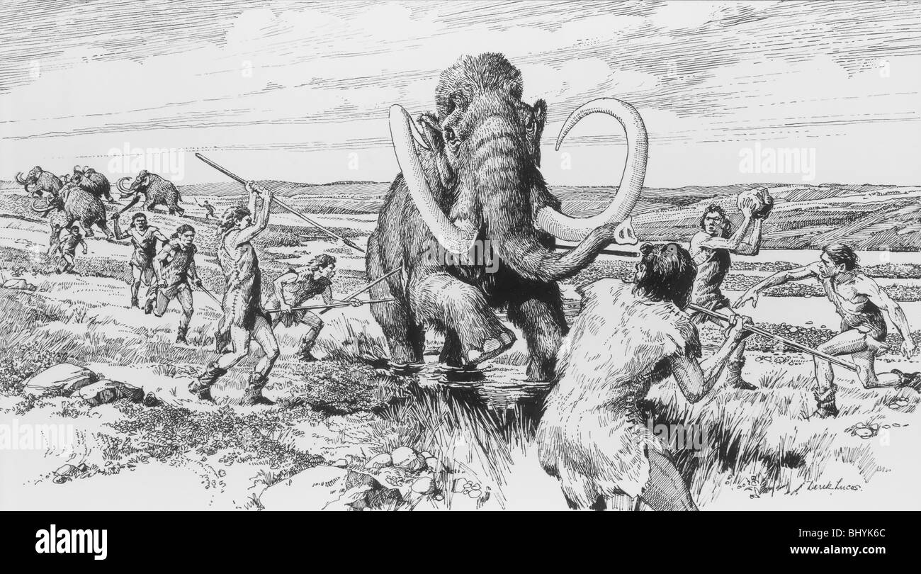 Scene of a mammoth being killed. Artist: Derek Lucas - Stock Image