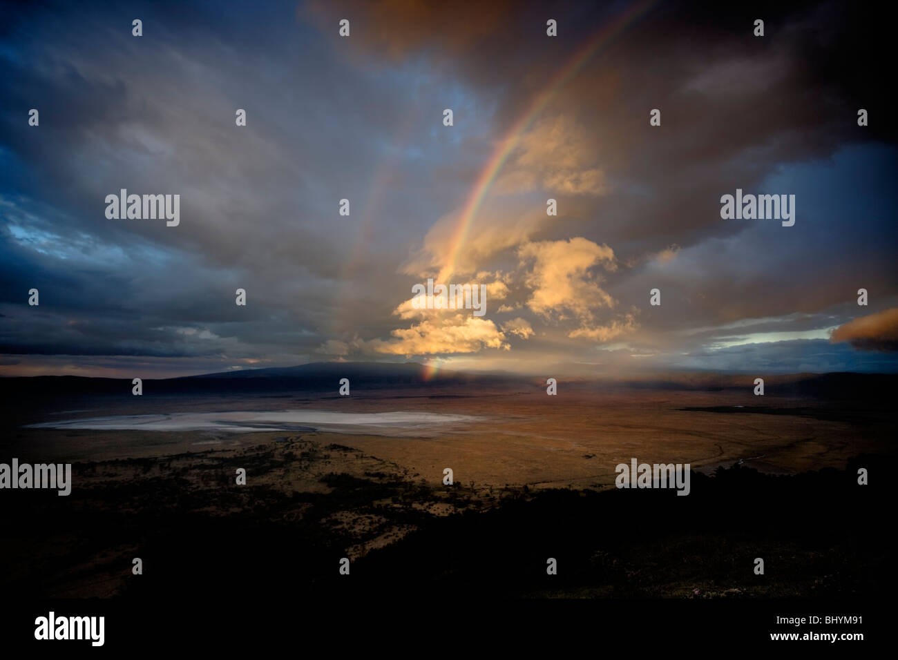 Rainbow in the Ngorongoro Crater, Tanzania, East Africa - Stock Image