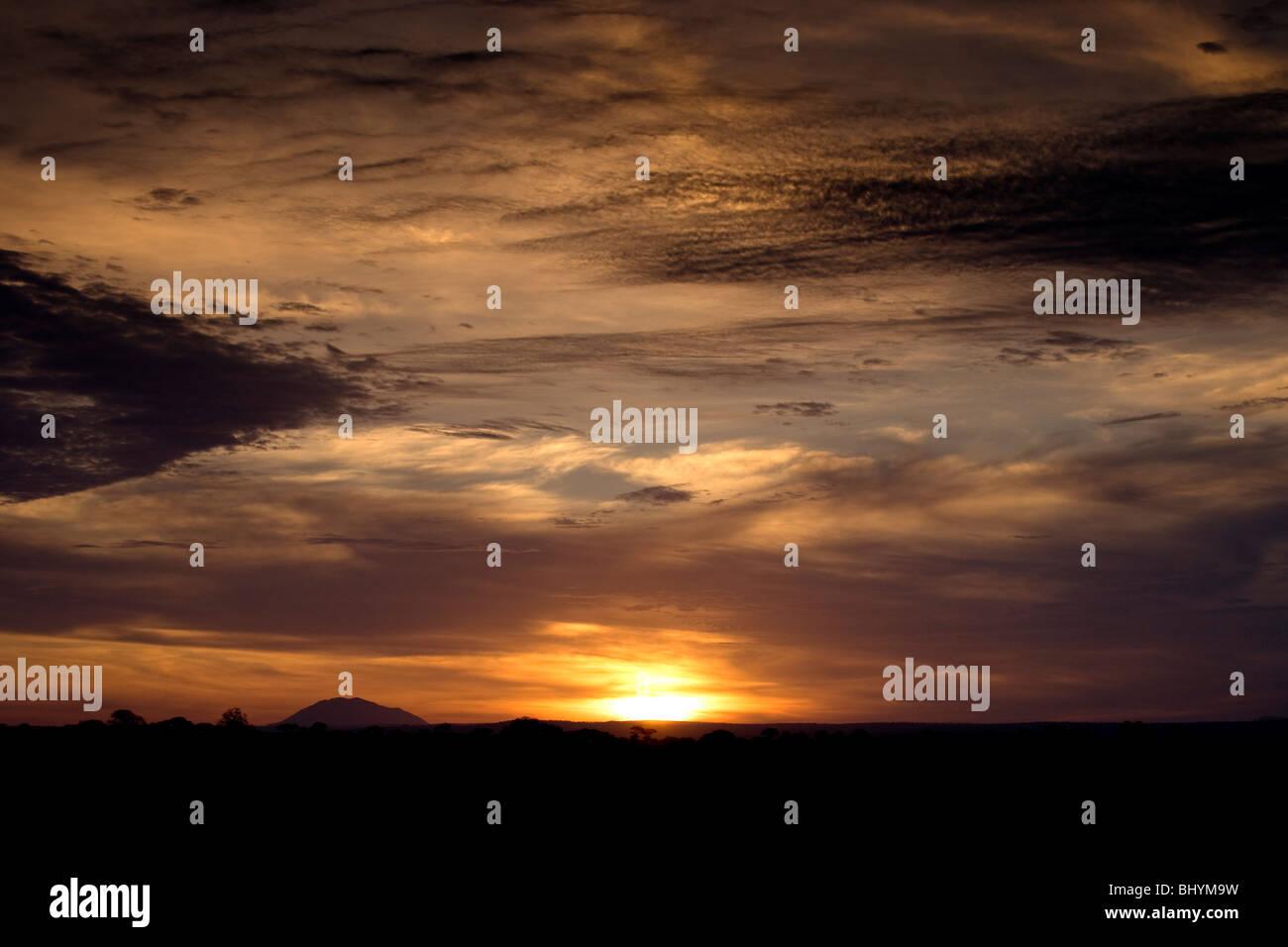 Sunrise at Tarangire NP, Tanzania, East Africa - Stock Image