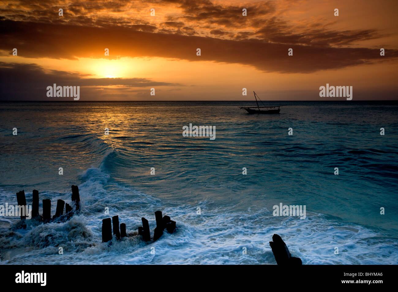 Sunset at Nungwi, North Zanzibar, Tanzania, East Africa - Stock Image