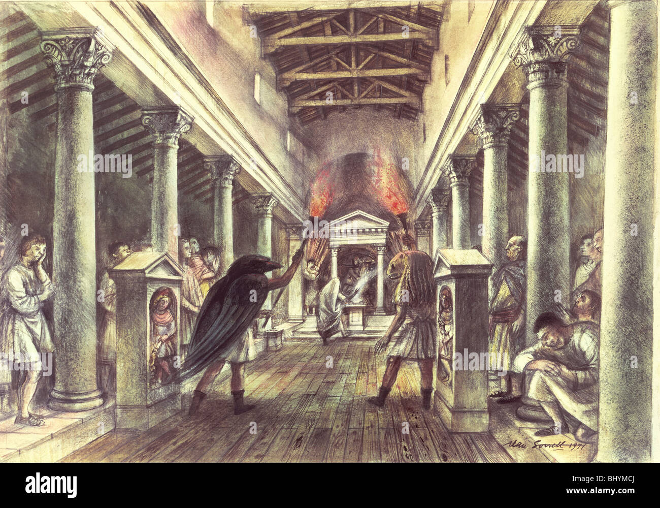 Interior of the Temple of Mithras. - Stock Image