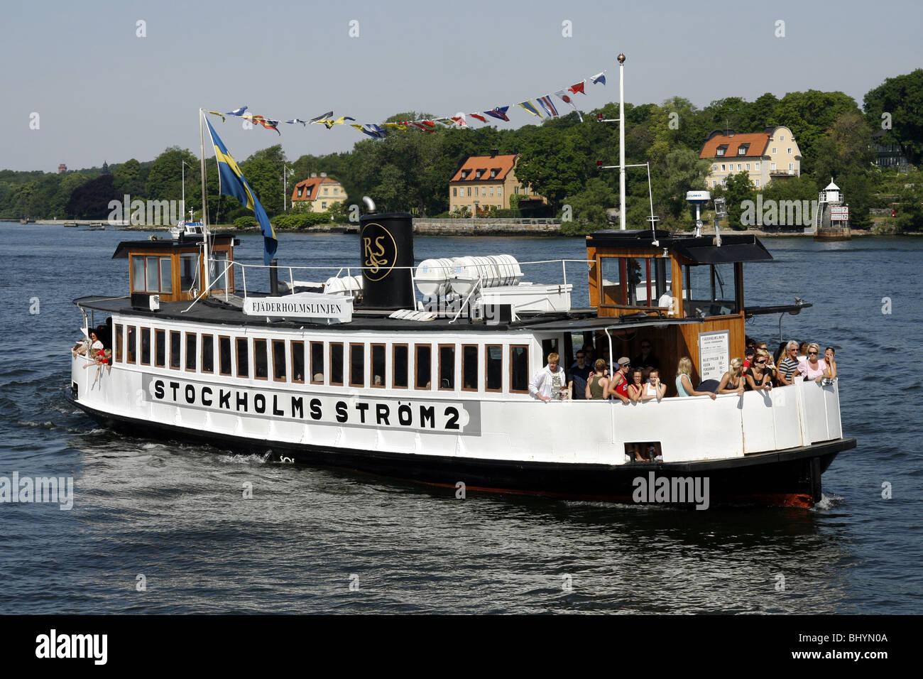 Fjäderholmslinjen Boat, Fjäderholmarna Island, Stockholm, Sweden - Stock Image