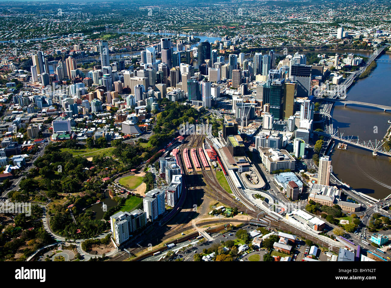Aerial view of Brisbane central business district & Roma Street station, Australia - Stock Image