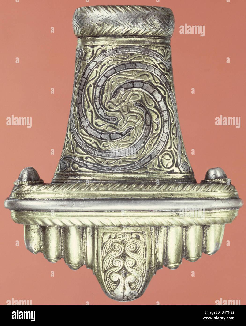 Silver gilt sword pommel, (Saxon?). - Stock Image
