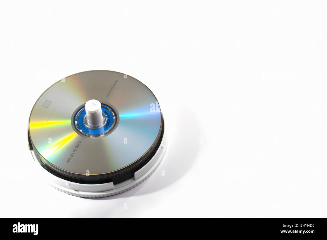 A carousel of DVDs and CDs. Isolated. Copy space. - Stock Image