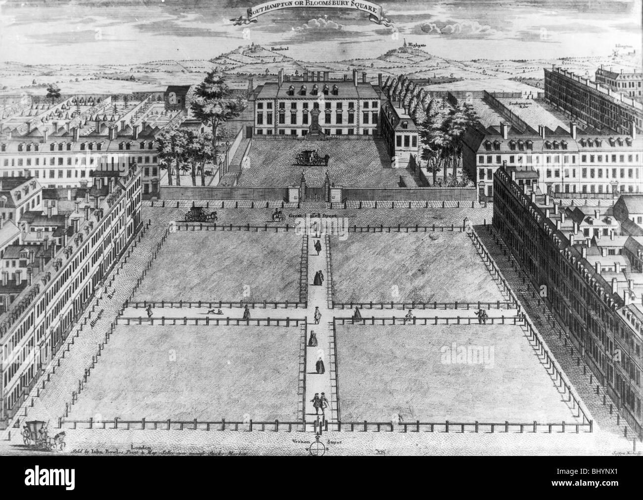 'Southampton or Bloomsbury Square', London, c1725. Artist: Sutton Nicholls - Stock Image