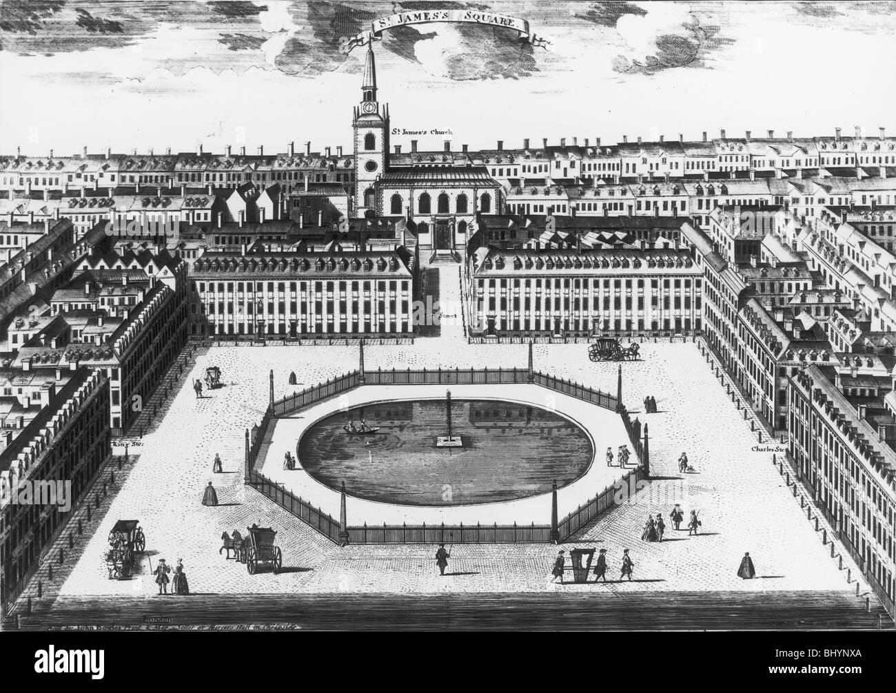 St James's Square, London, c1725. Artist: Sutton Nicholls - Stock Image