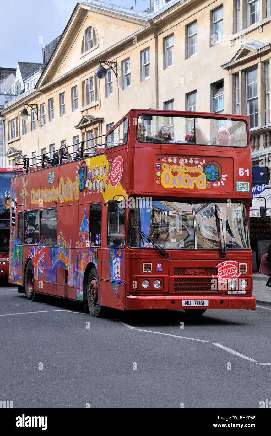 Open topped British Leyland sightseeing tourbus in Oxford, England. - Stock Image