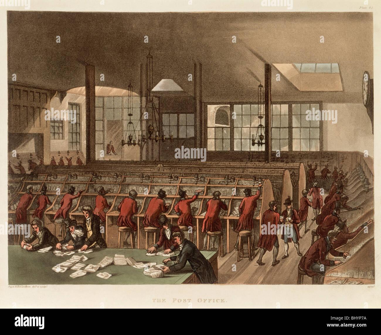 The Post Office, (c1808?). Artist: Augustus Charles Pugin - Stock Image