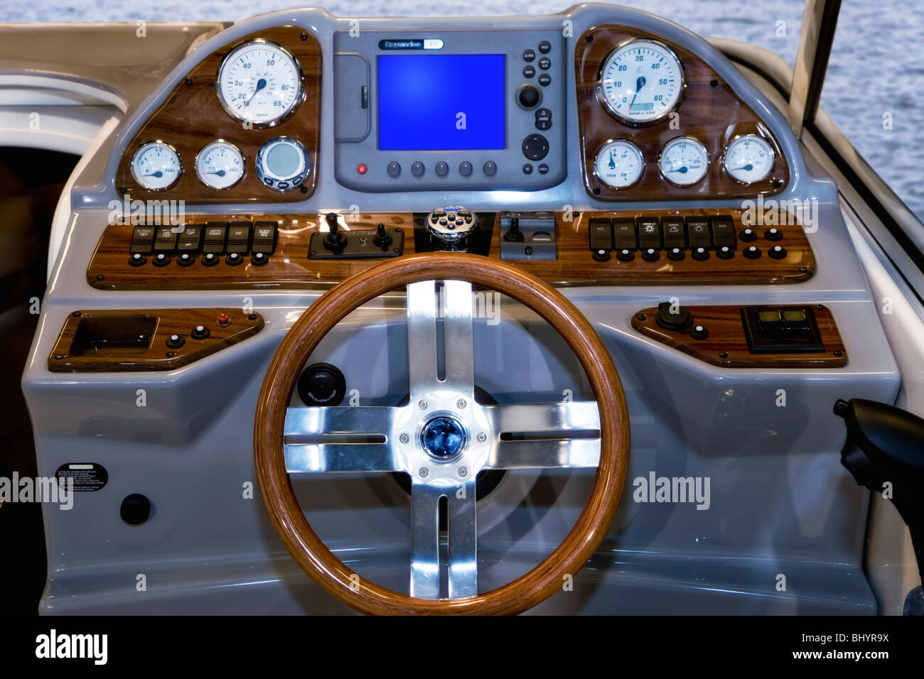 The Cockpit in a motorboat - Stock Image