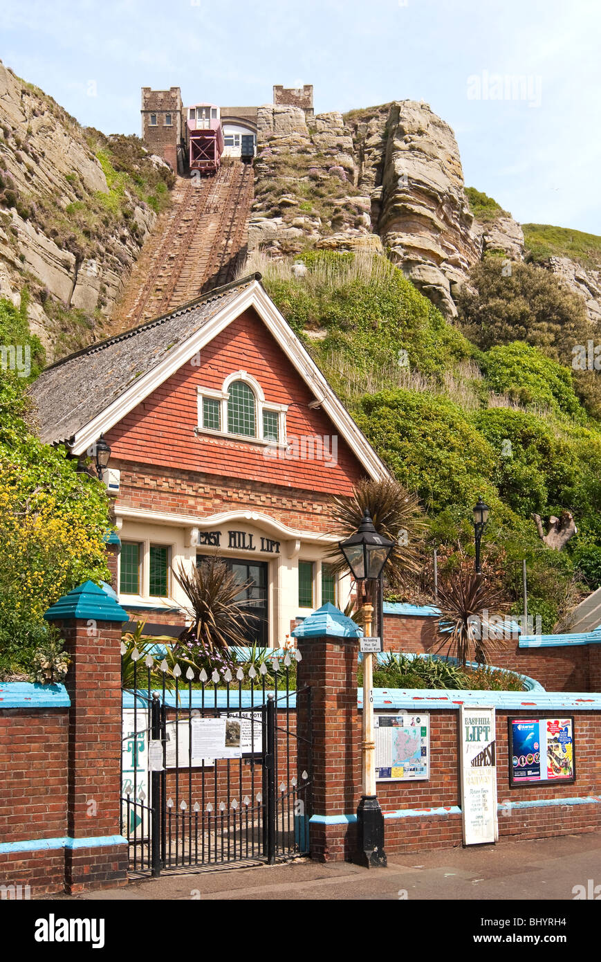 The historical East Hill Lift in Hastings, South East England . - Stock Image