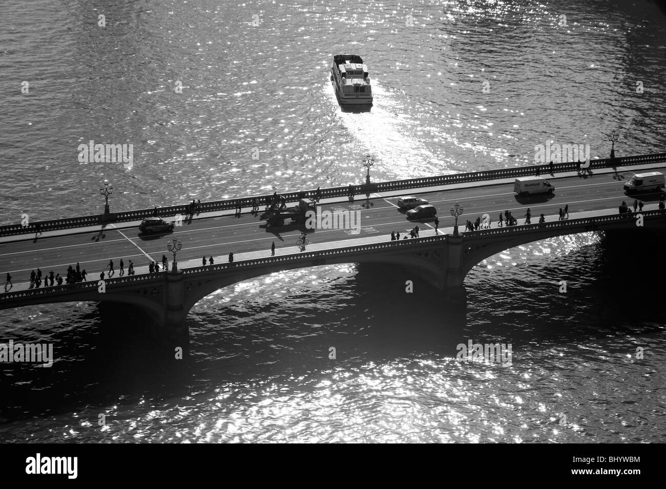 Aerial view of Westminster Bridge, Westminster, London, UK. - Stock Image