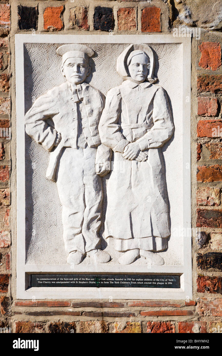 Childrens Trust Commemorative Plaque at the Quilt Museum York Yorkshire England - Stock Image