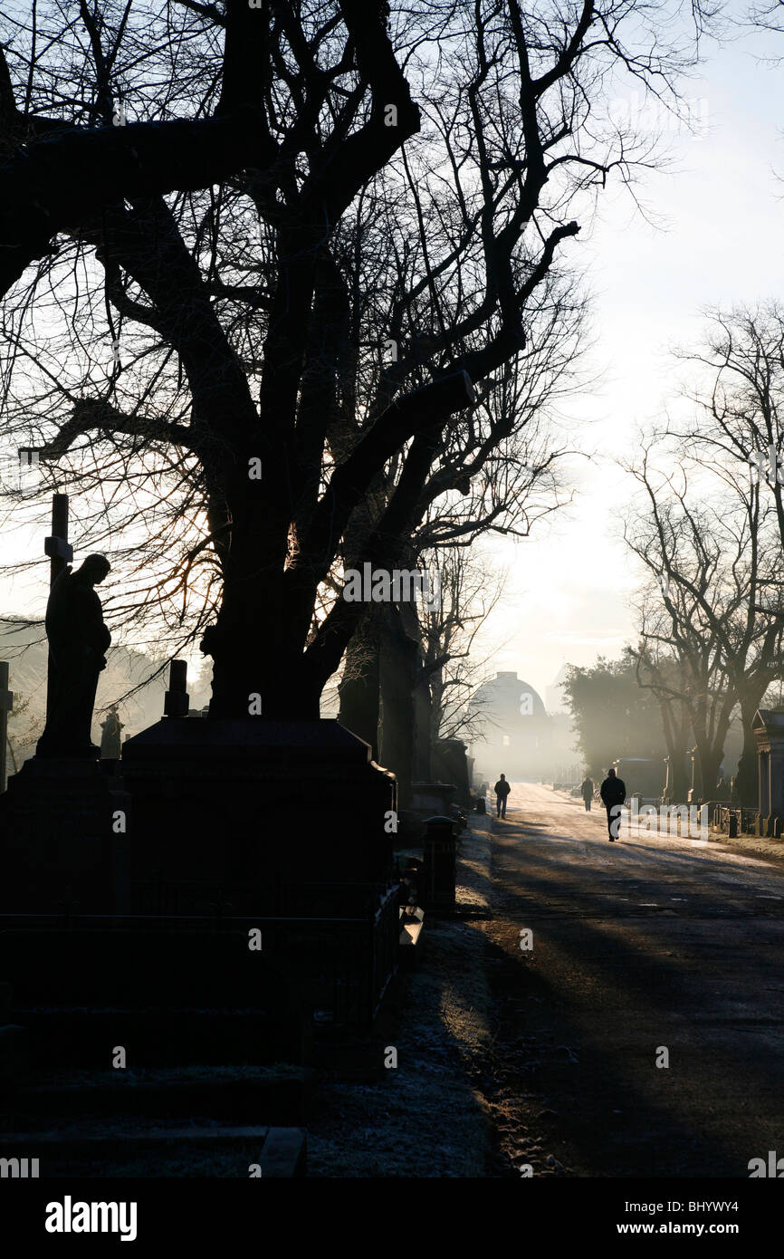 View down the Central Avenue to the Octagon Chapel in the Brompton Cemetery, West Brompton, London, UK Stock Photo