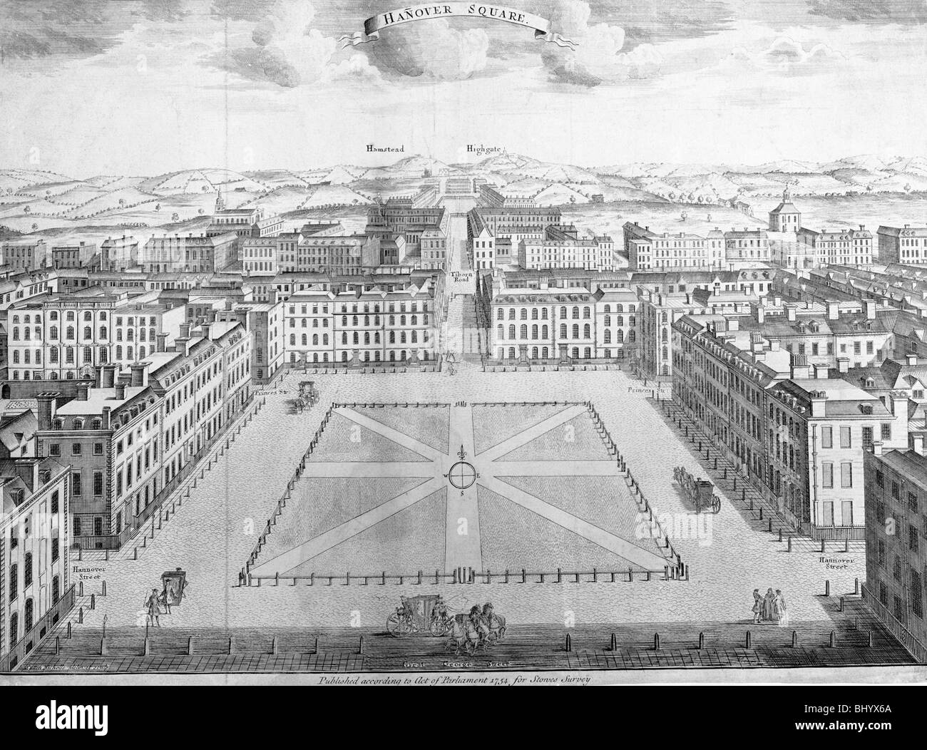 Hanover Square, Westminster, London, early 18th century. Artist: Sutton Nicholls - Stock Image