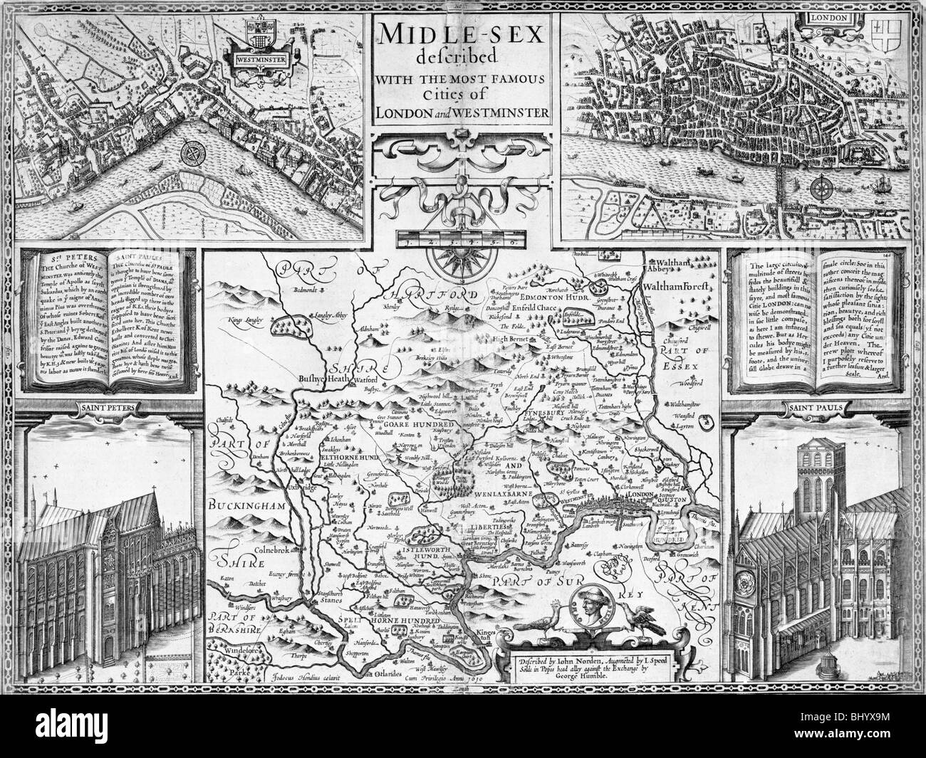 Map of London, Westminster and Middlesex, late 16th-early 17th century. Artist: John Speed - Stock Image