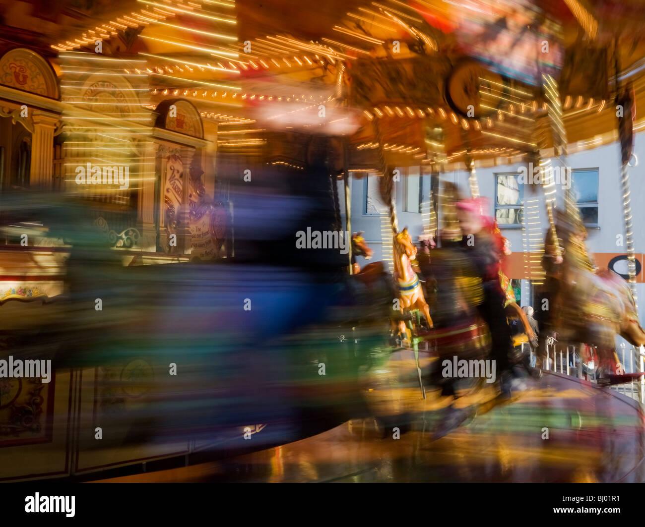 Fairground Carousel in Broad Street, Waterford City, Ireland Stock Photo