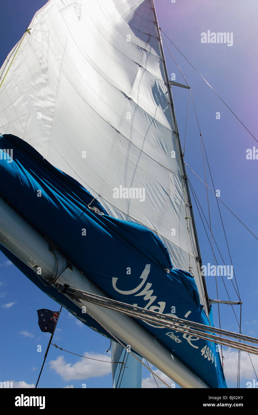 Sail of a Dolphin  watching boat in Port Stephens, NSW - Stock Image