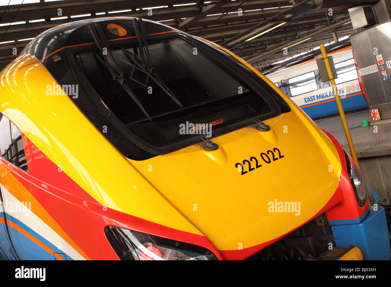 Class 222 locomotive of East Midlands Trains at St Pancras railway station London - Stock Image