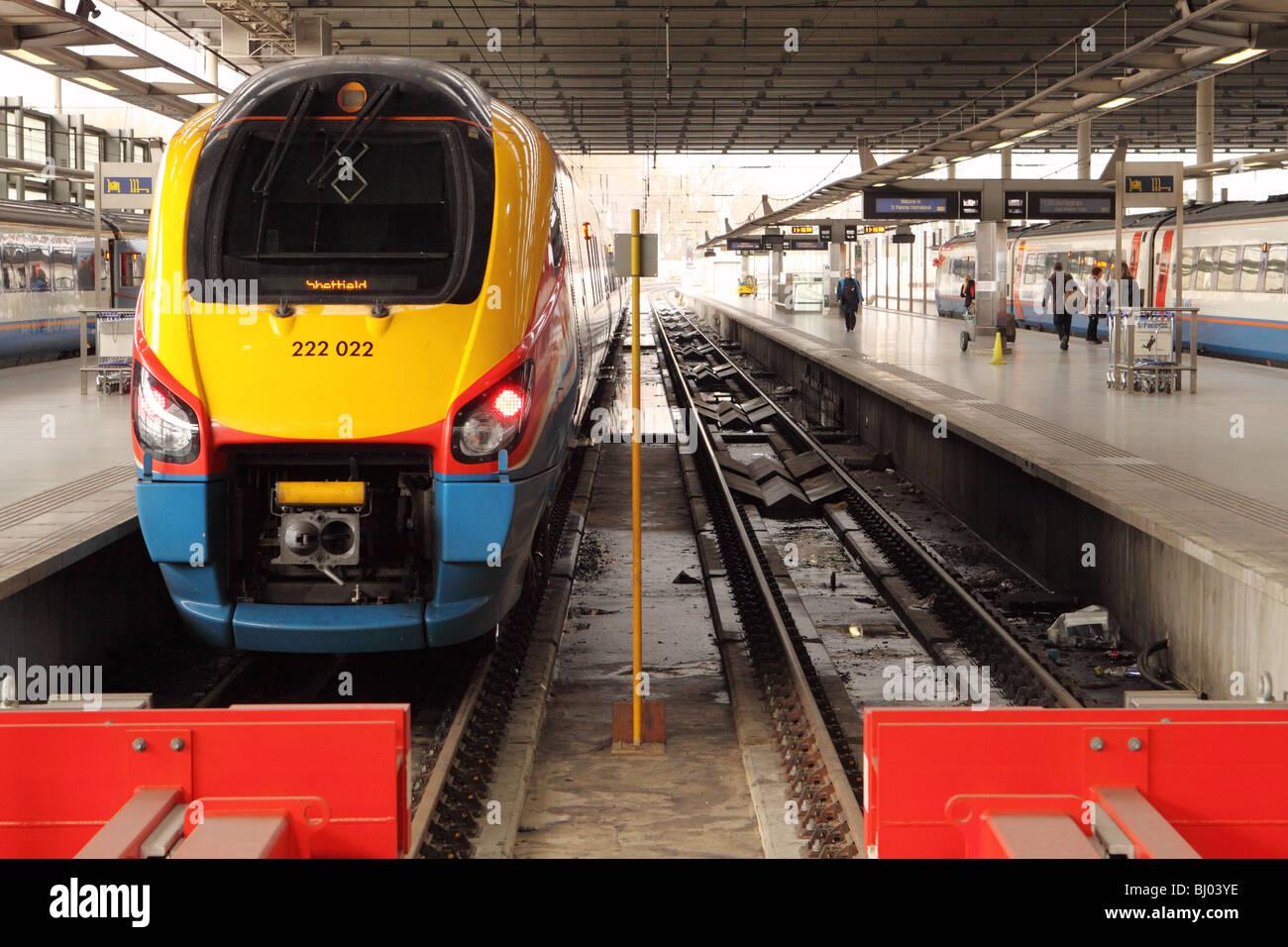 St Pancras railway station London Class 222 locomotive of East Midlands Trains - Stock Image