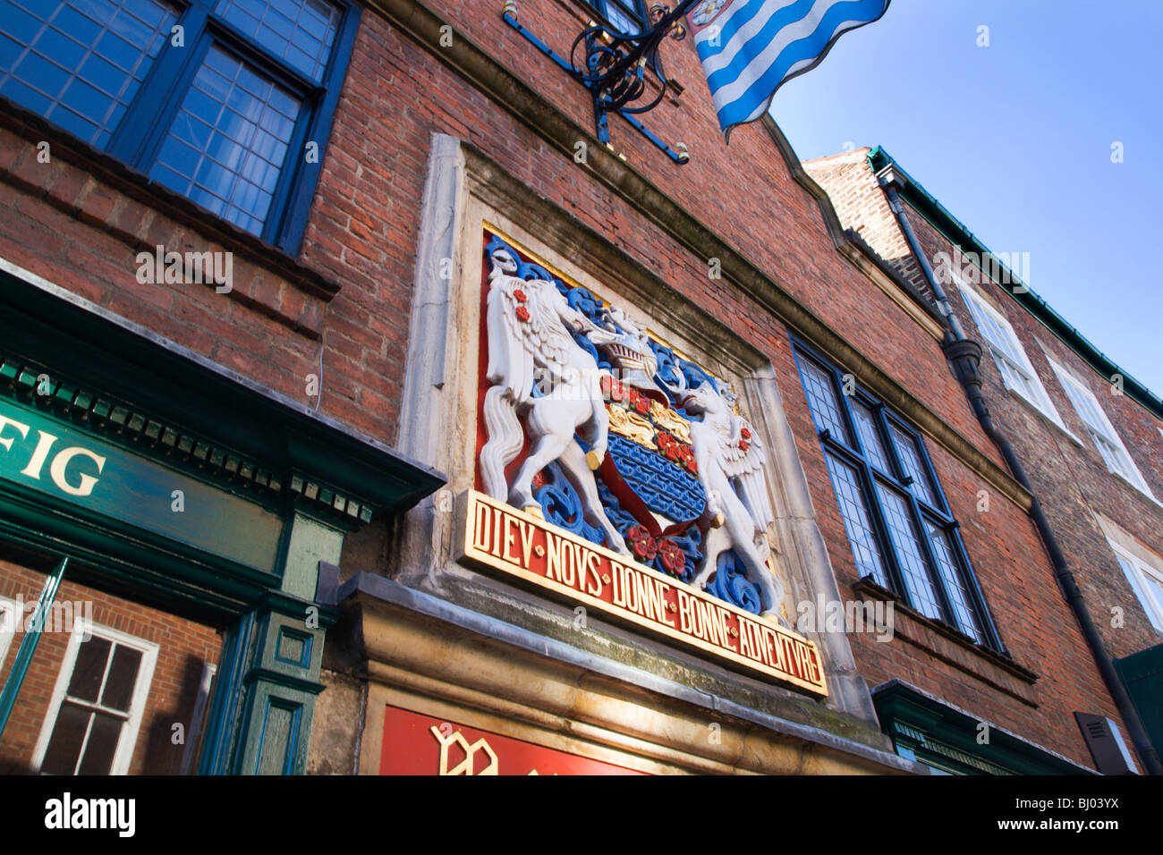 Coat of Arms at The Merchant Adventurers Hall Fossgate York Yorkshire England - Stock Image