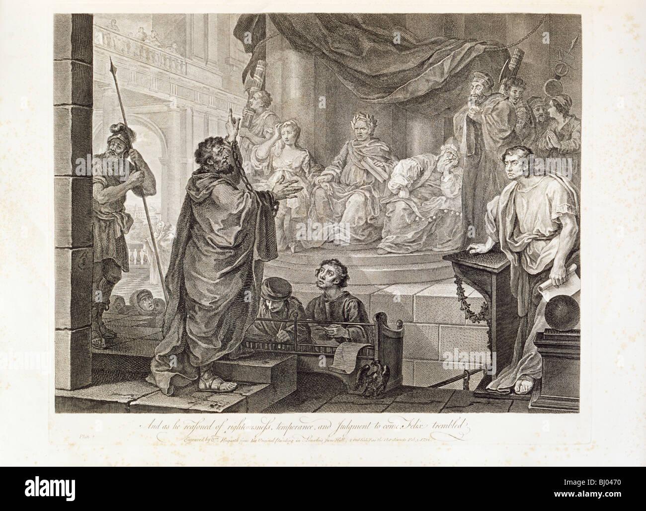Paul before Felix, Plate II, 1752.   Artist: William Hogarth Stock Photo