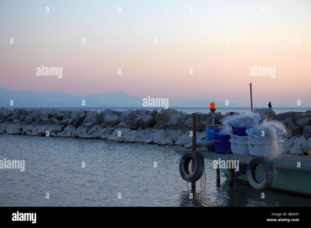 Fishing nets at Lake Geneva (Lac Léman) in Lausanne, Switzerland - Stock Image