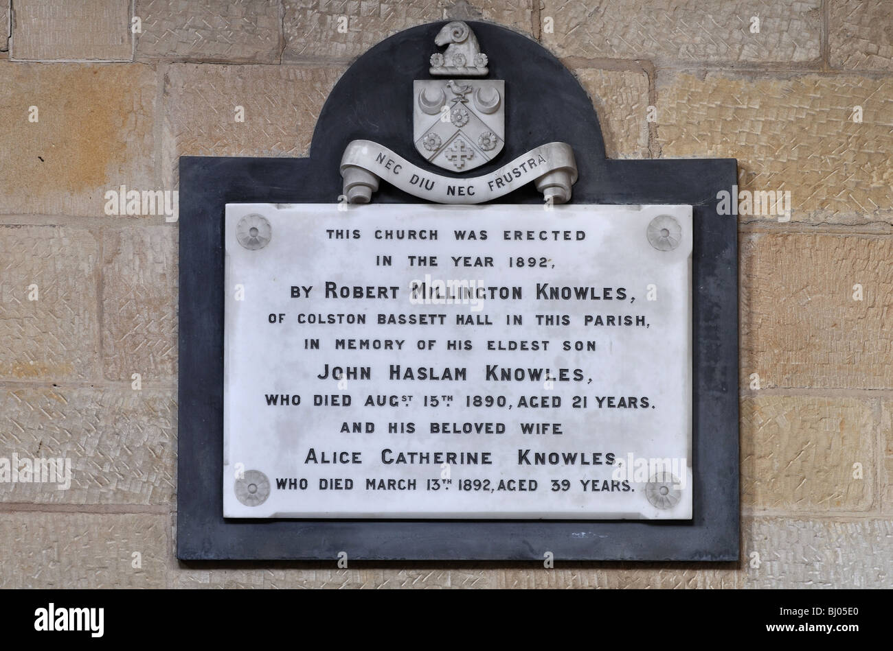 Wall plaque in St. John the Divine Church, Colston Bassett, Nottinghamshire, England, UK - Stock Image