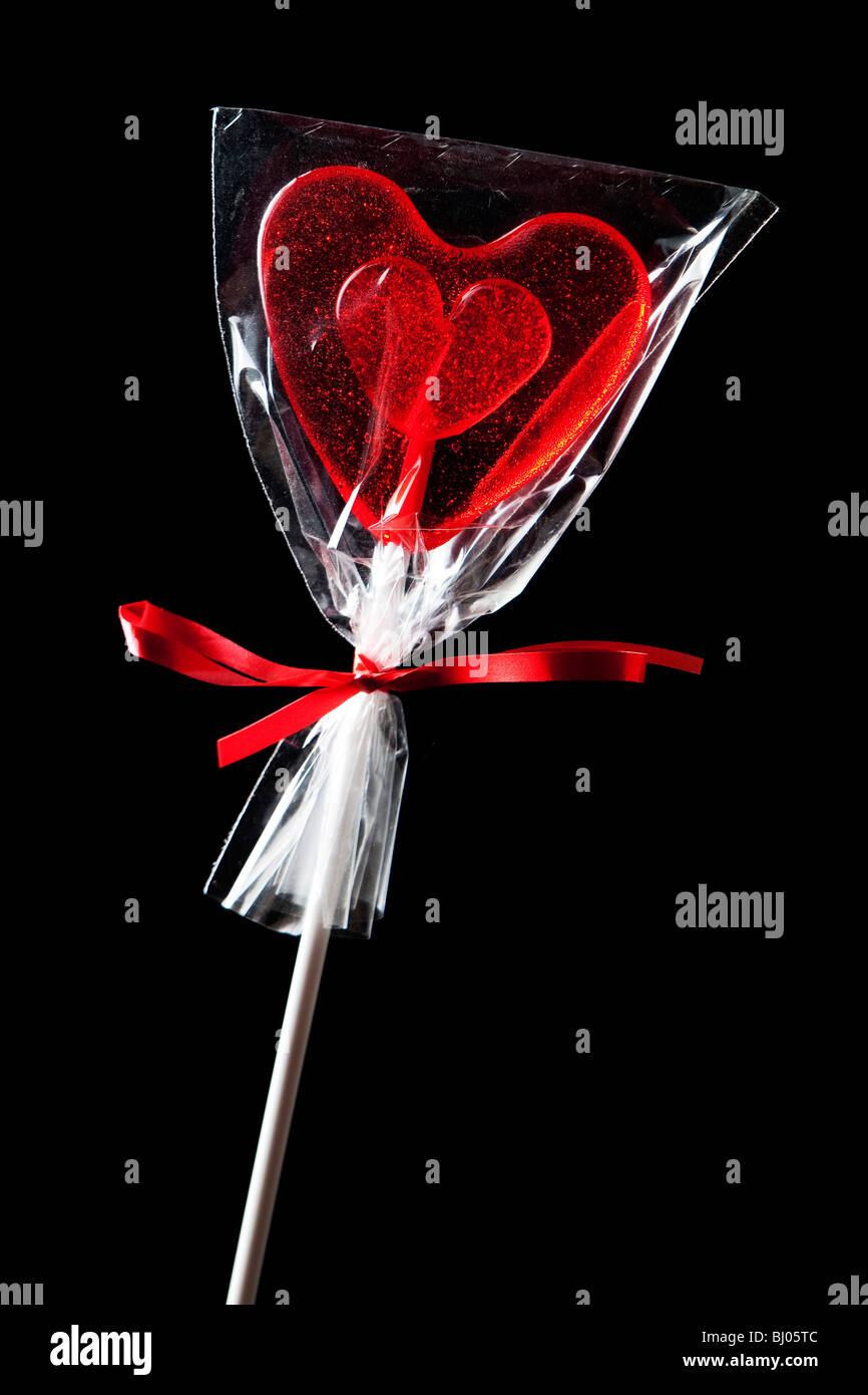 Heart shape lollipop - Stock Image