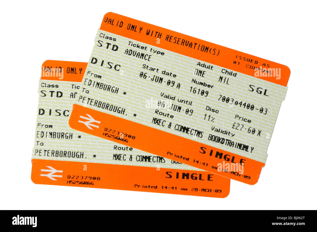 A pair of UK rail tickets - Stock Image