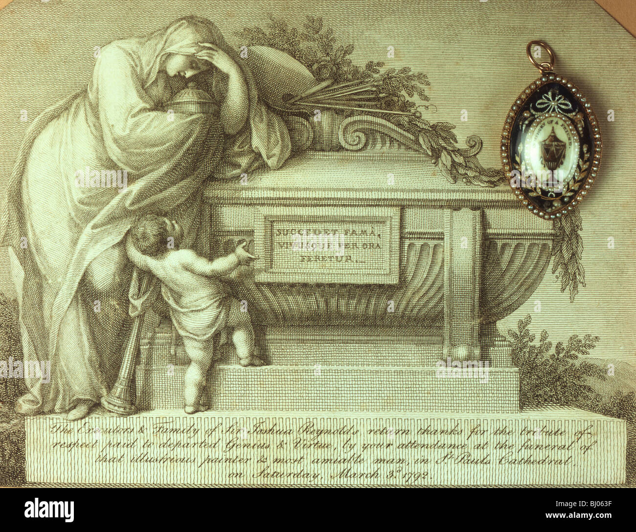 Mourning card and memento of Sir Joshua Reynolds, 1792. - Stock Image