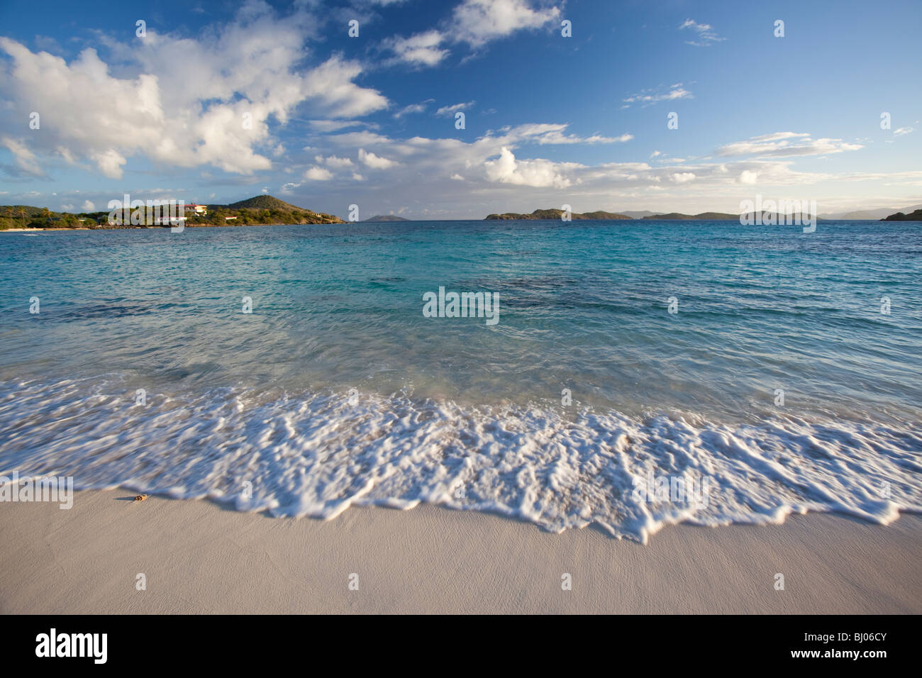 Morning surf at a tropical beach in US Virgin Islands - Stock Image