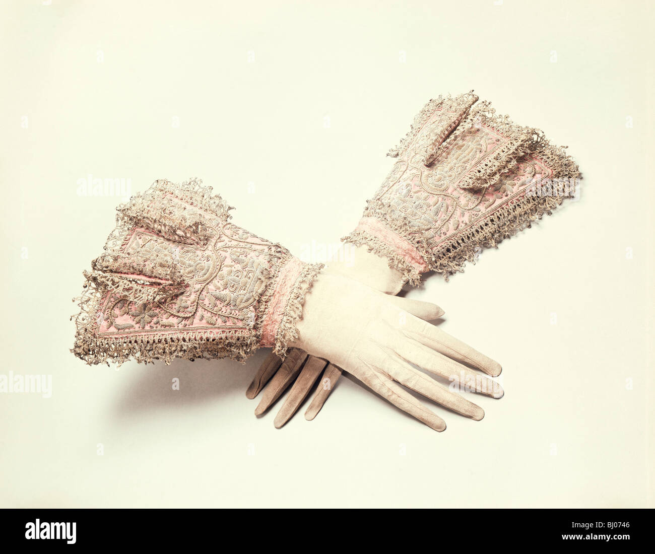 Gloves said to have been worn by King Charles I, c1630. - Stock Image