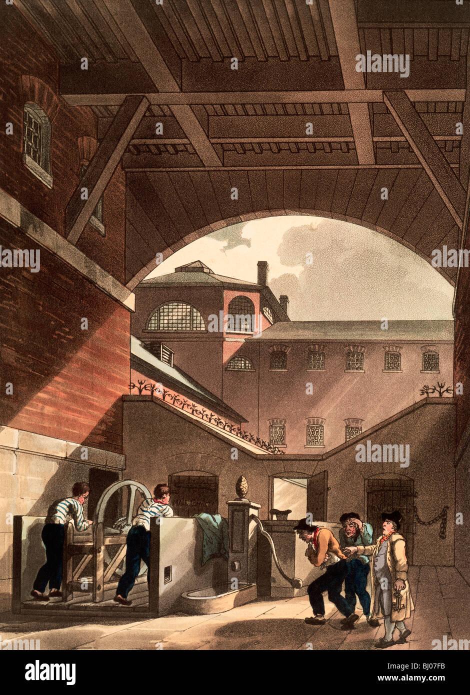 Water engine at Cold Bath Fields Prison, London, 1808. Artist: Augustus Charles Pugin - Stock Image
