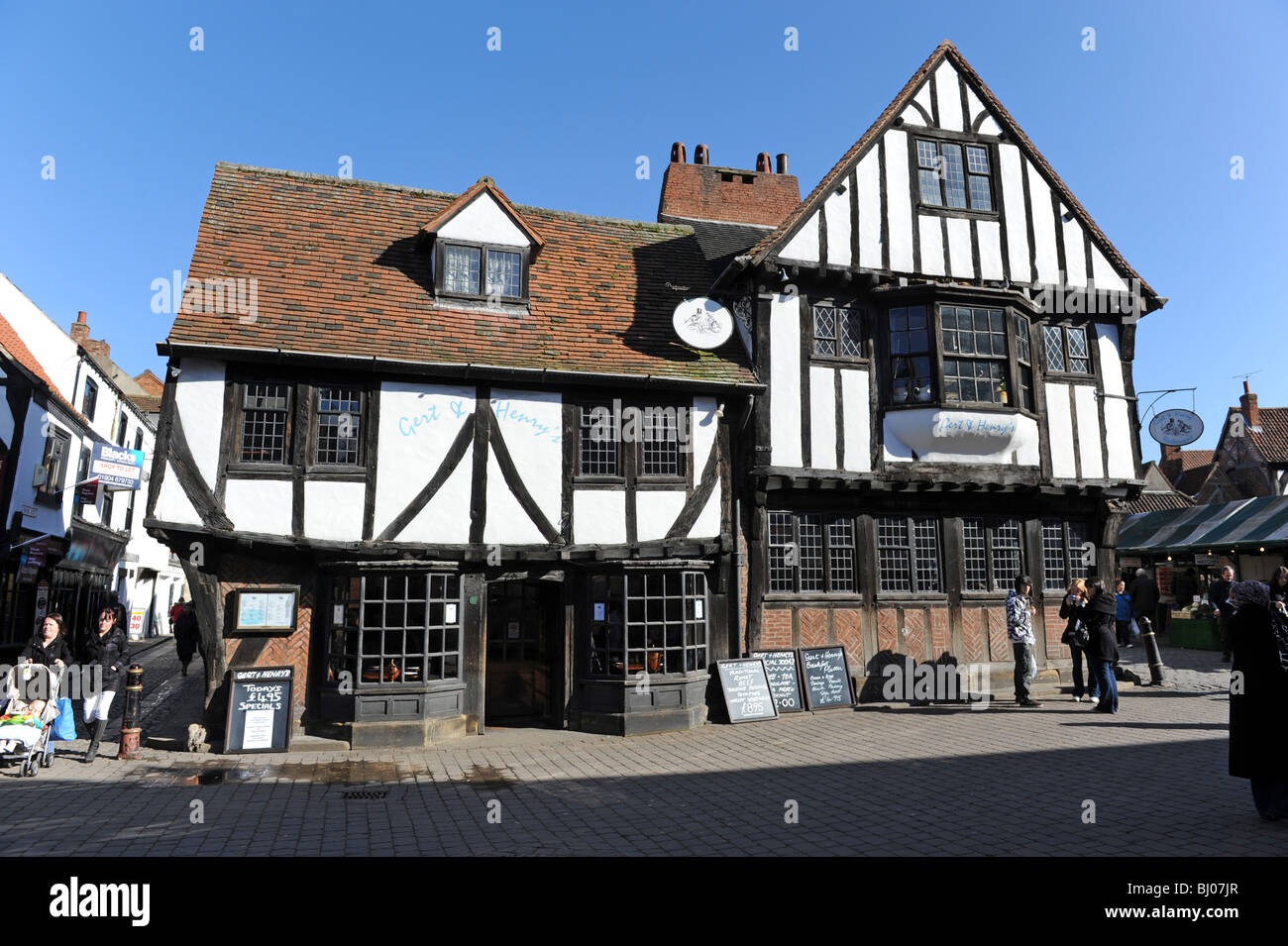 Gert and Henry's pub in the Shambles in City of York in North Yorkshire England Uk - Stock Image