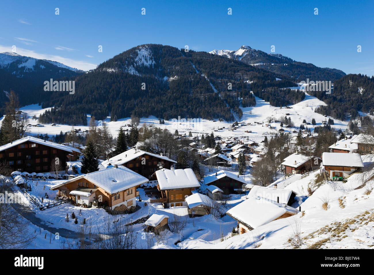 View over the centre of the resort of Les Diablerets, Vaud, Switzerland - Stock Image