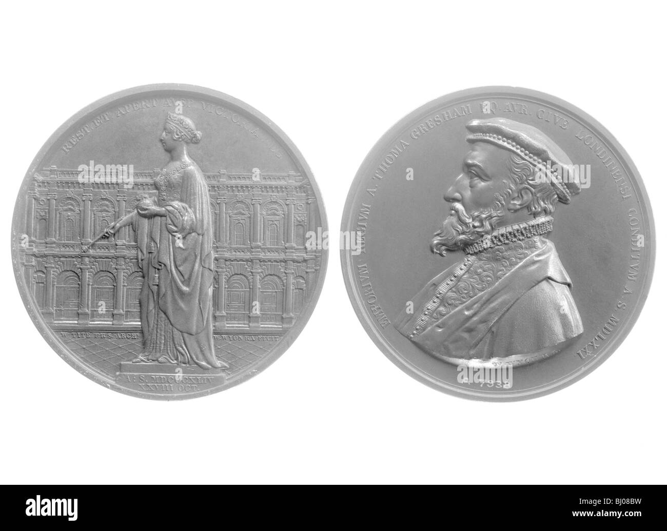 Bronze medallions of Queen Victoria and Sir Thomas Gresham, 1844. - Stock Image
