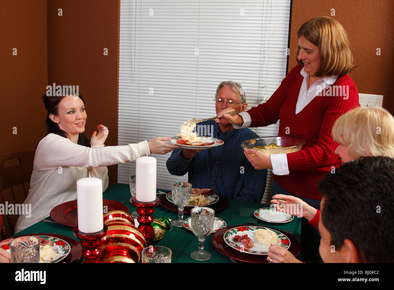 Food being served at Christmas dinner - Stock Image