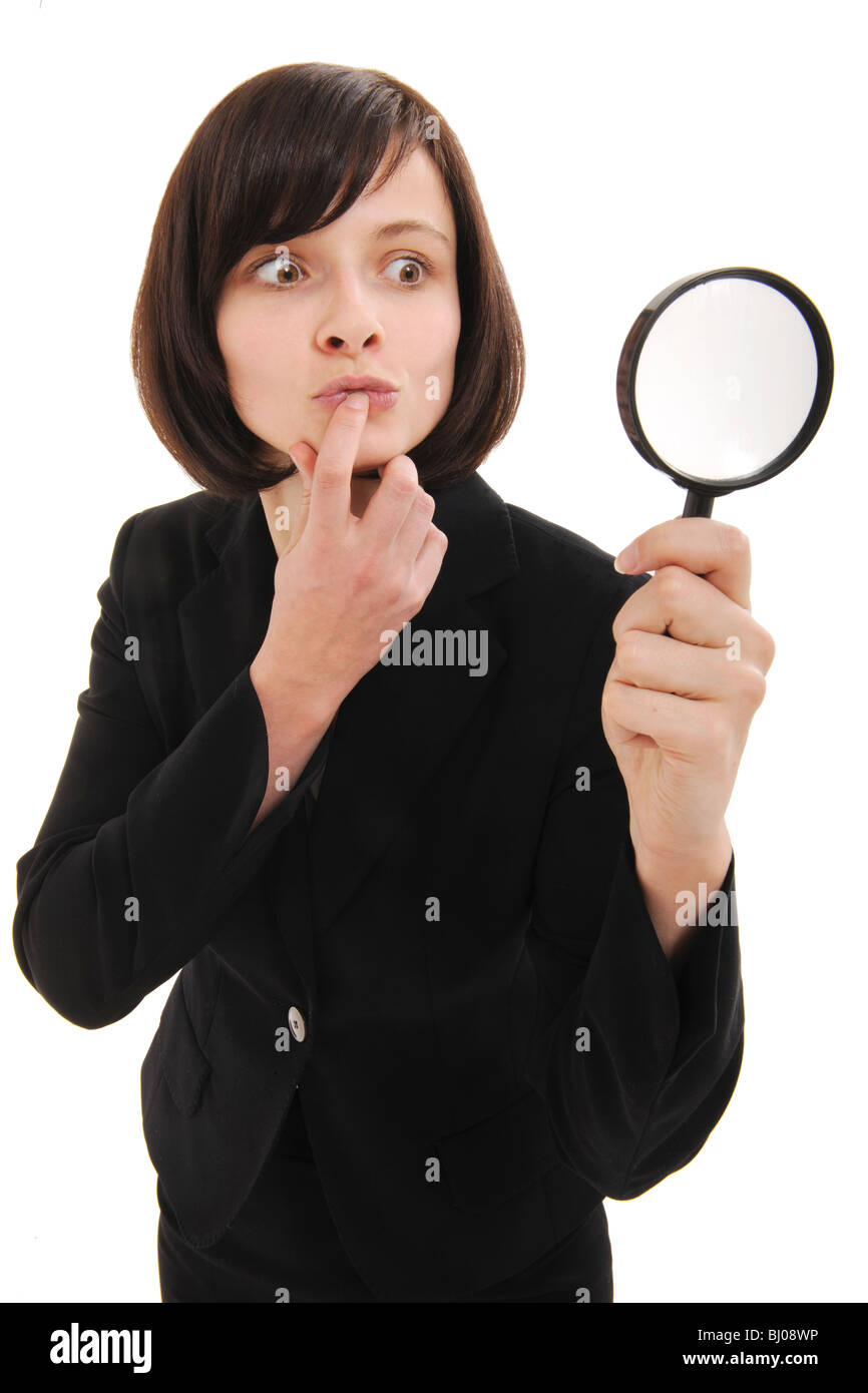 businesswoman with magnifier - Stock Image