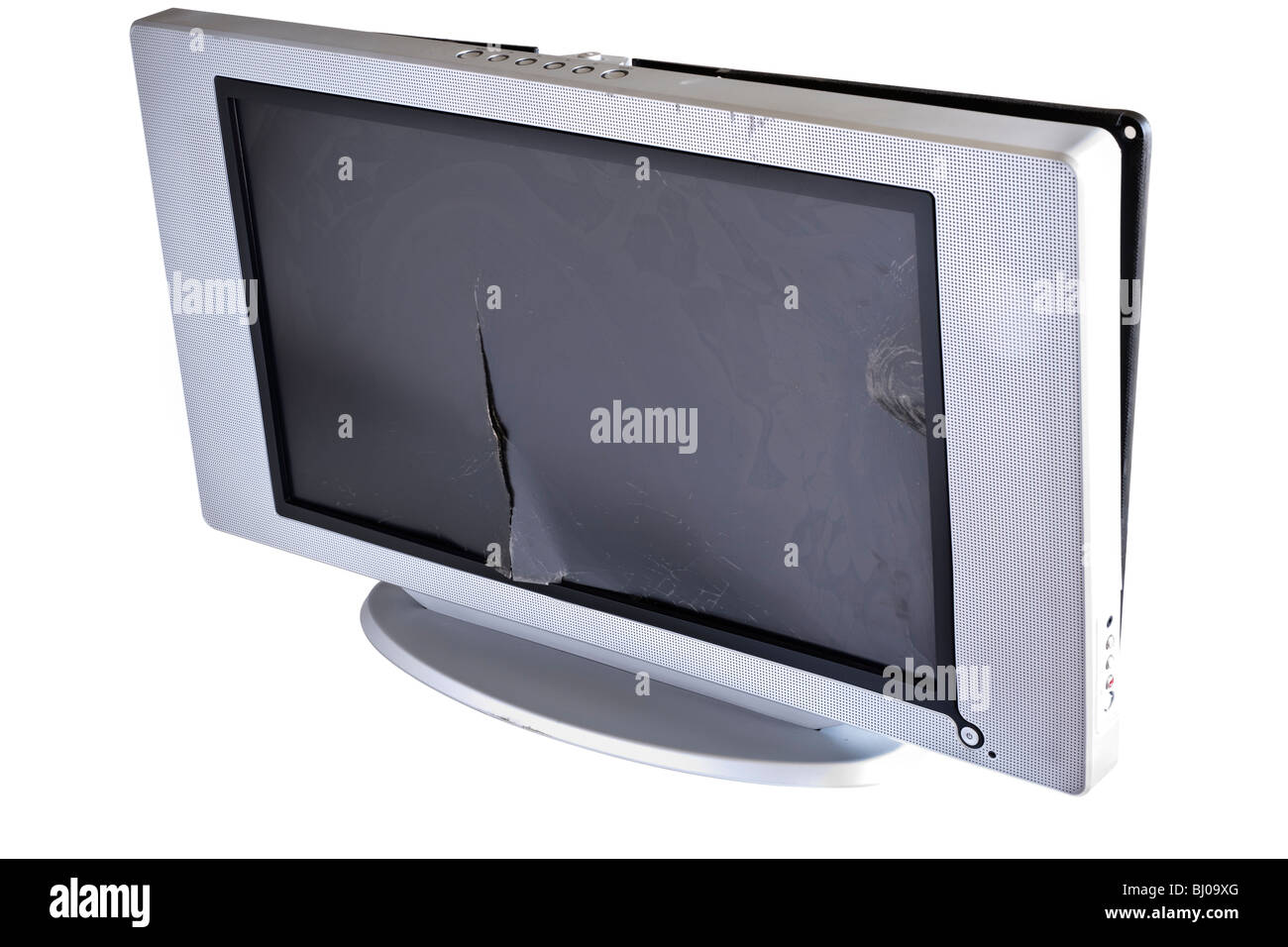 Smashed LCD television - Stock Image