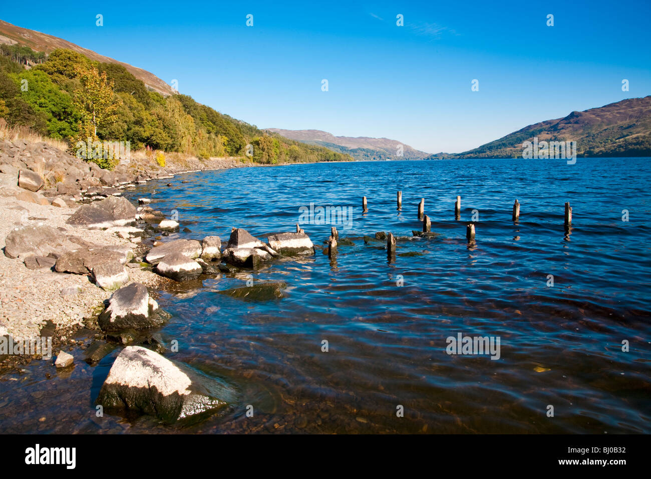 Views of the shores of Lake with rocks and landscape, Loch Earn Scotland - Stock Image