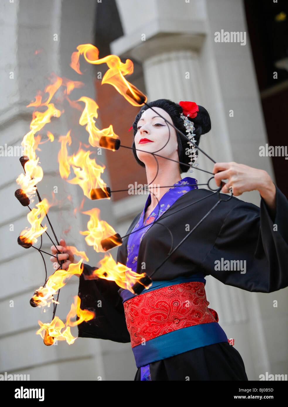 Brindleyplace fire eater, Birmingham, West Midlands. - Stock Image