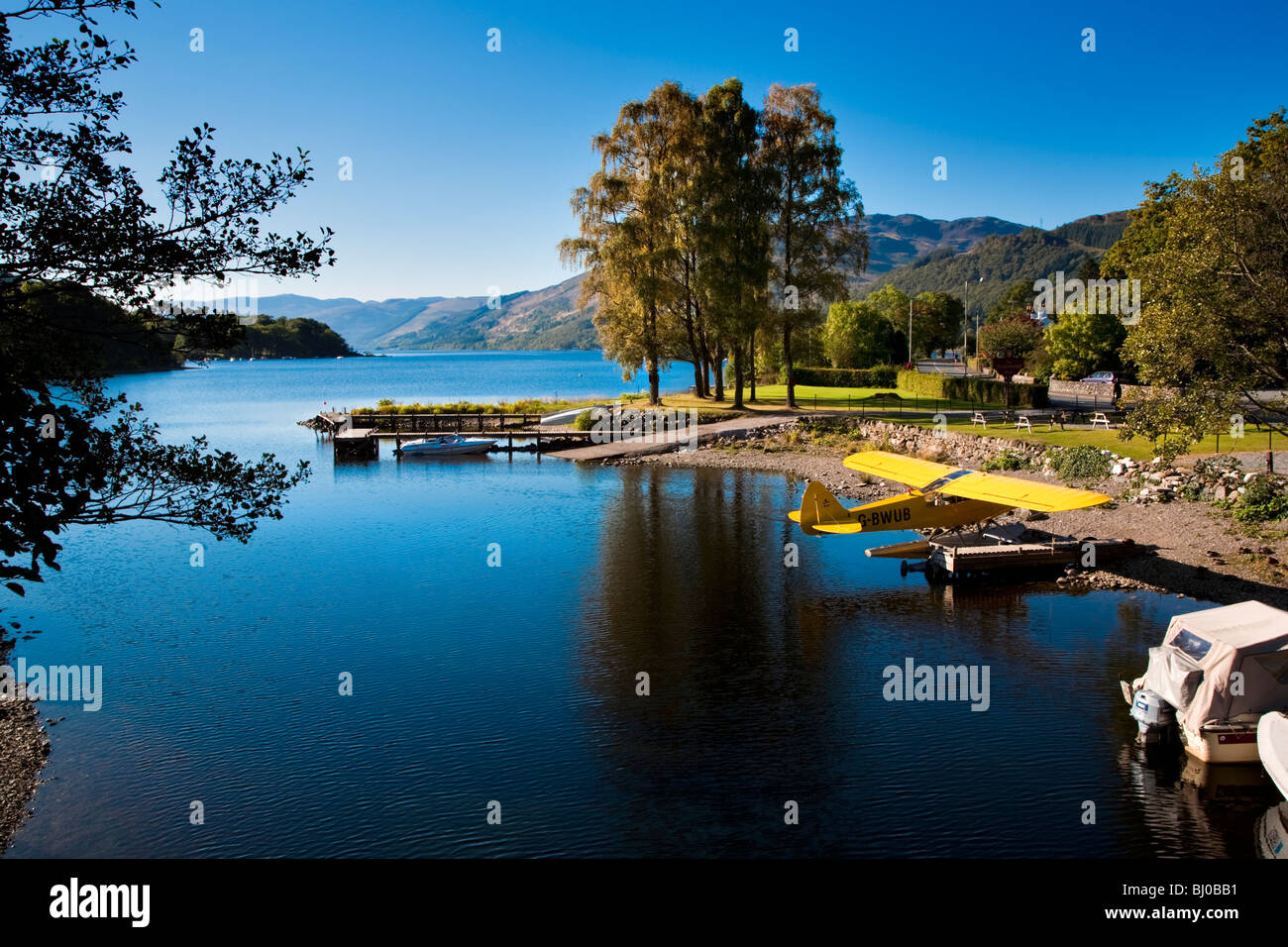 Views of Lake with Seaplane at St Fillans, Loch Earn, Scotland. - Stock Image