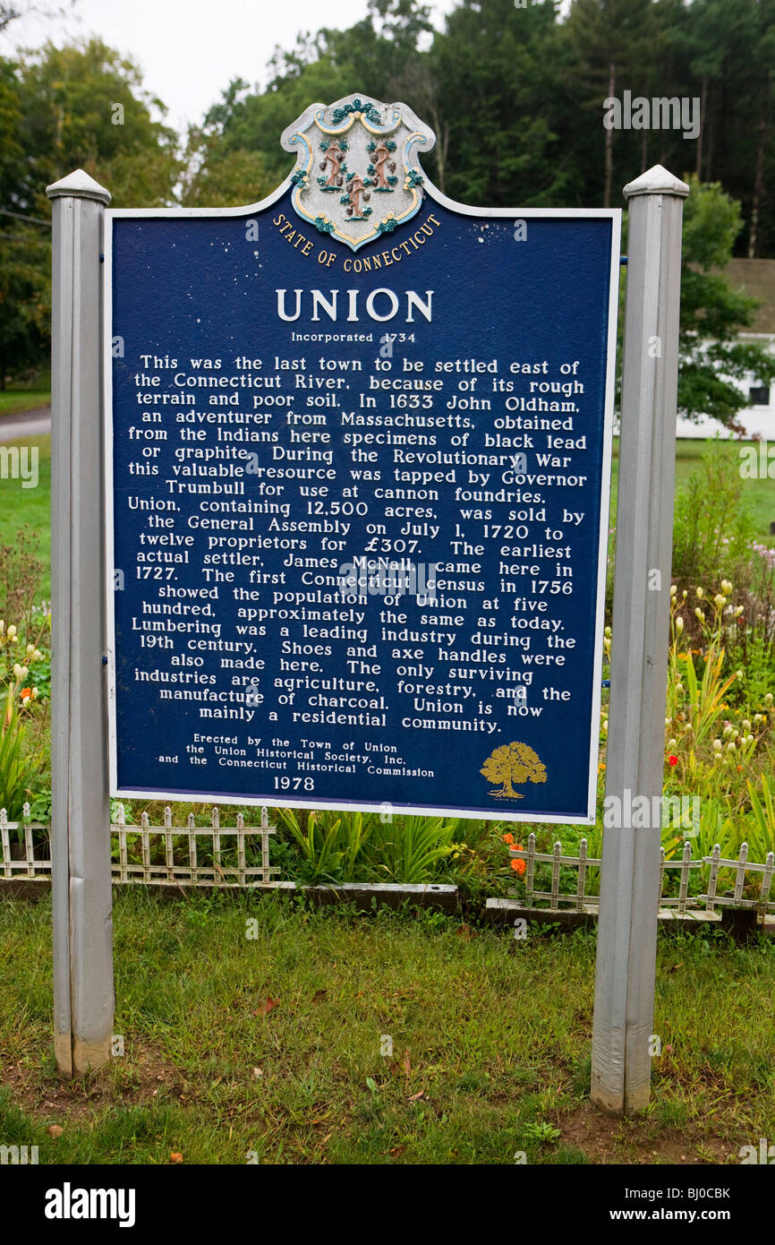 Union, Incorporated 1734 - The last town to be settled east of Connecticut River, because of it's rough terrain Stock Photo