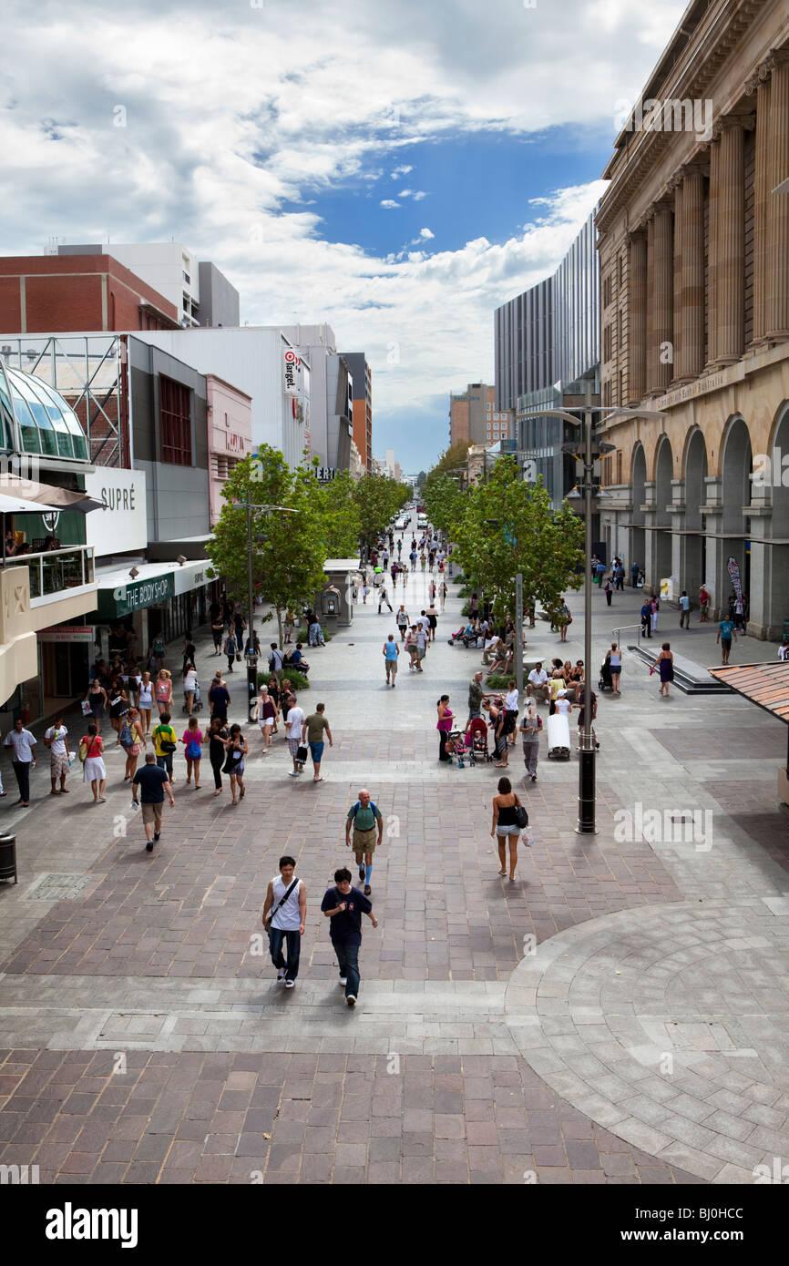 Hay Street Mall shopping precinct in Perth, Western Australia - Stock Image