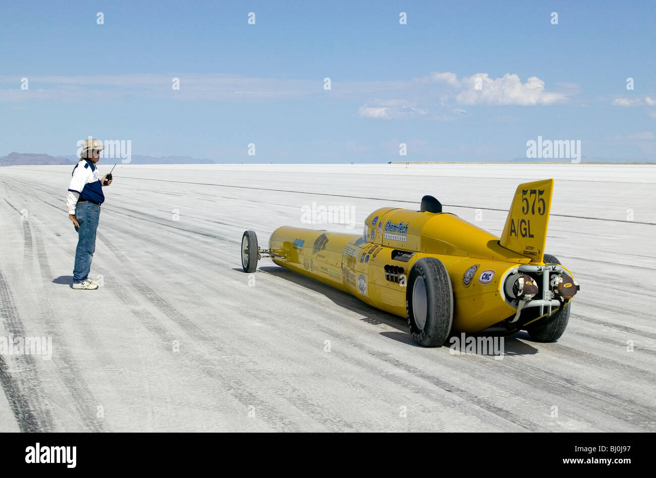 Bonneville speed record car at the start of record attempt. Bonneville speedway Utah USA Stock Photo