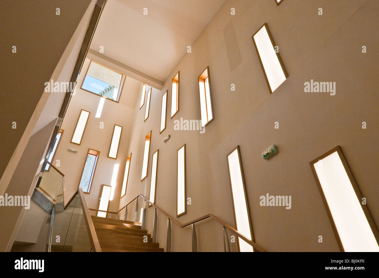 Interior stairway of new Prehistory Museum, Le Grand-Pressigny, sud-Touraine, France. - Stock Image